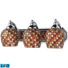 Bath And Spa 3 Light Led Vanity In Polished Chrome And Multi Fusion Glass