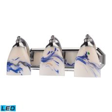 Bath And Spa 3 Light Led Vanity In Polished Chrome And Mountain Glass