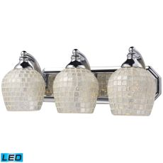 Bath And Spa 3 Light Led Vanity In Polished Chrome And Silver Glass