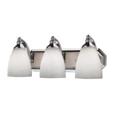 Bath And Spa 3 Light Vanity In Polished Chrome And Simple White Glass