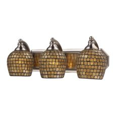 Bath And Spa 3 Light Vanity In Satin Nickel And Gold Leaf Glass