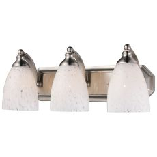Bath And Spa 3 Light Vanity In Satin Nickel And Snow White Glass