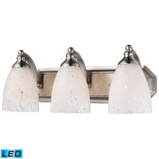 Bath And Spa 3 Light Led Vanity In Satin Nickel And Snow White Glass