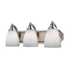 Bath And Spa 3 Light Vanity In Satin Nickel And Simple White Glass