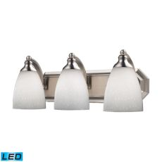 Bath And Spa 3 Light Led Vanity In Satin Nickel And Simple White Glass