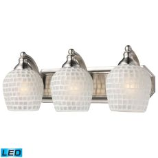 Bath And Spa 3 Light Led Vanity In Satin Nickel And White Glass