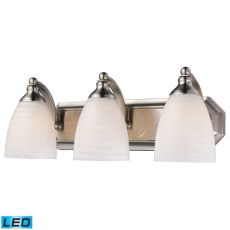 Bath And Spa 3 Light Led Vanity In Satin Nickel And White Swirl Glass