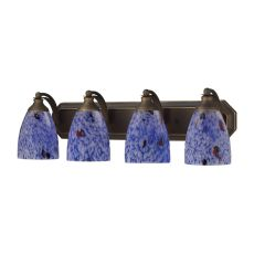 Bath And Spa 4 Light Vanity In Aged Bronze And Starburst Blue Glass