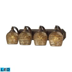Bath And Spa 4 Light Led Vanity In Aged Bronze And Gold Leaf Glass