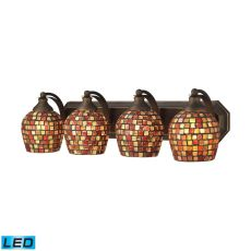 Bath And Spa 4 Light Led Vanity In Aged Bronze And Multi Fusion Glass