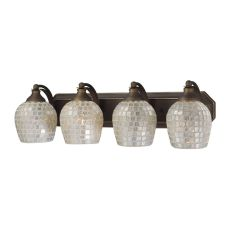 Bath And Spa 4 Light Vanity In Aged Bronze And Silver Glass