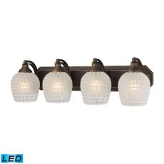 Bath And Spa 4 Light Led Vanity In Aged Bronze And White Glass