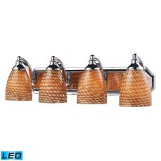 Bath And Spa 4 Light Led Vanity In Polished Chrome And Cocoa Glass