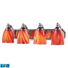 Bath And Spa 4 Light Led Vanity In Polished Chrome And Multi Glass