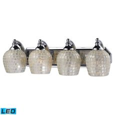 Bath And Spa 4 Light Led Vanity In Polished Chrome And Silver Glass