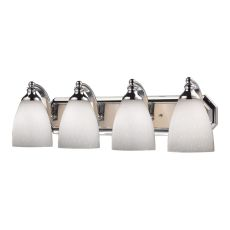 Bath And Spa 4 Light Vanity In Polished Chrome And Simple White Glass