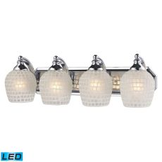Bath And Spa 4 Light Led Vanity In Polished Chrome And White Glass