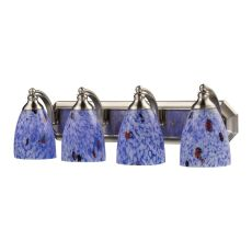 Bath And Spa 4 Light Vanity In Satin Nickel And Starburst Blue Glass