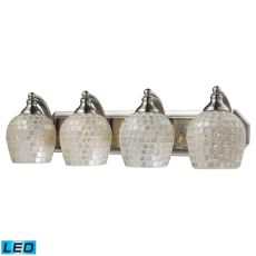 Bath And Spa 4 Light Led Vanity In Satin Nickel And Silver Glass