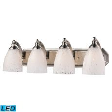 Bath And Spa 4 Light Led Vanity In Satin Nickel And Snow White Glass