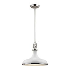 Rutherford 1 Light Pendant In Polished Nickel And Gloss White