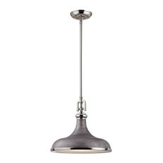 Rutherford 1 Light Pendant In Polished Nickel And Weathered