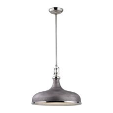 Rutherford 1 Light Pendant In Polished Nickel And Weathered Zinc