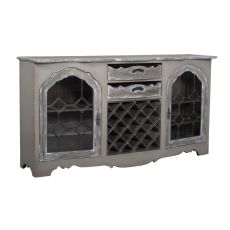 Credenza With Wine Storage, Taupe, Gray