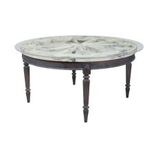Artifacts Round Dining Table, Vintage Bouleau Blanc, Heritage Grey Stain