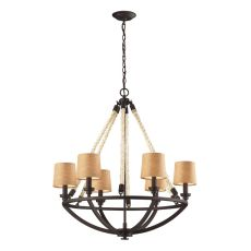 Natural Rope 6 Light Chandelier In Aged Bronze