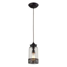 Brookline 1 Light Pendant In Oiled Bronze And Clear Glass