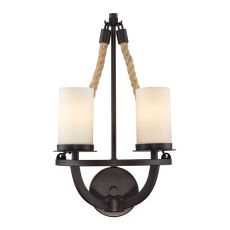 Natural Rope 2 Light Wall Sconce In Aged Bronze And White Glass