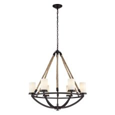 Natural Rope 6 Light Chandelier In Aged Bronze And White Glass