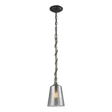 Natural Rope 1 Light Pendant In Silvered Graphite With Polished Nickel Accents