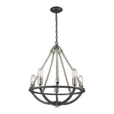 Natural Rope 5 Light Chandelier In Silvered Graphite With Polished Nickel Accents