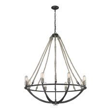 Natural Rope 8 Light Chandelier In Silvered Graphite With Polished Nickel Accents