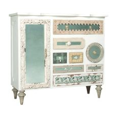 Mirror Mosaic Chest, White