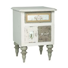 Mirror Mosaic Side Chest, White