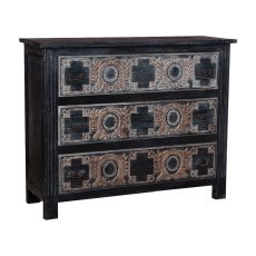 Moroccan Three Drawer Chest, Black