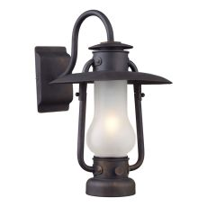 Chapman 1 Light Sconce In Matte Black And Acid Etched Glass