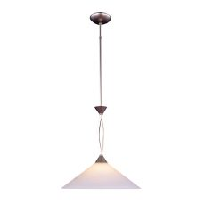 Elysburg 1 Light Pendant In Satin Nickel And White Glass