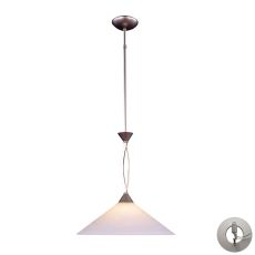 Elysburg 1 Light Pendant In Satin Nickel And White Glass - Includes Recessed Lighting Kit