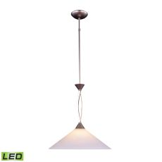 Elysburg 1 Light Led Pendant In Satin Nickel And White Glass