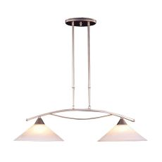 Elysburg 2 Light Island In Satin Nickel And White Glass