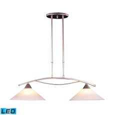 Elysburg 2 Light Led Island In Satin Nickel And White Glass