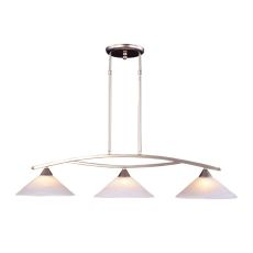 Elysburg 3 Light Island In Satin Nickel And White Glass