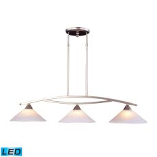 Elysburg 3 Light Led Island In Satin Nickel And White Glass