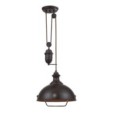 Farmhouse 1 Light Adjustable Pendant In Oiled Bronze