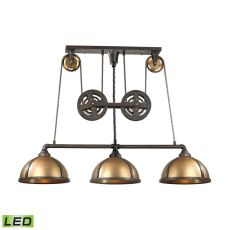 Torque 3 Light Led Island In Vintage Rust And Brass