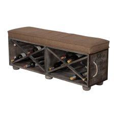 Lg Wine Crate Ottoman, Gray